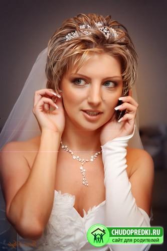 Фото свадебной причеки на короткие
