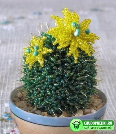 Цветы из бисера мастер класс кактус