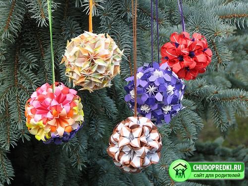 Новогодние поделки шары из бумаги своими руками