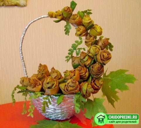 Из осенних листьев для детей мастер
