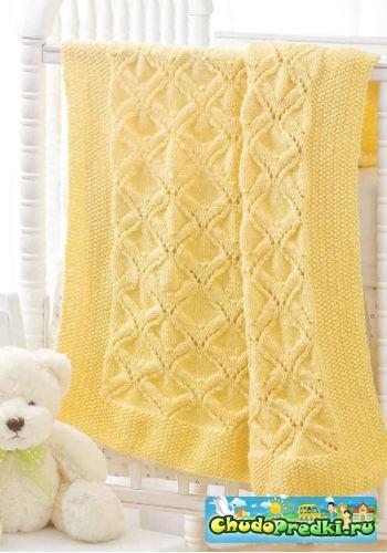 Вязаное покрывало для новорожденного