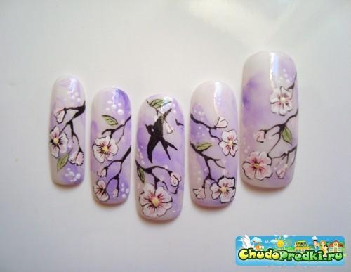 Как рисуют сакуру на ногтях