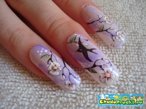 Роспись ногтей японскими