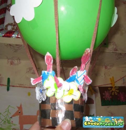 Воздушный шар с корзиной своими руками поделка