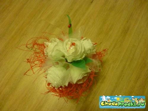 букет из конфет для любимой учительницы. Мастер класс с пошаговым фото