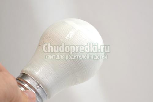 Елочная игрушка своими руками из лампочки мастер