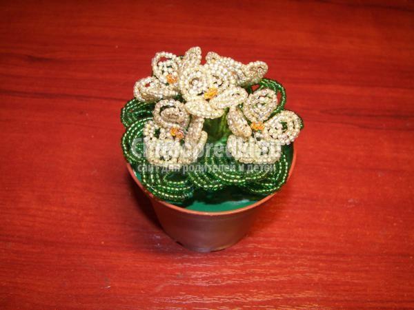 цветы из бисера. Нежные фиалки