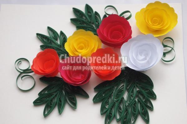 Цветы в технике квиллинг. Розы. Мастер класс с пошаговыми фото