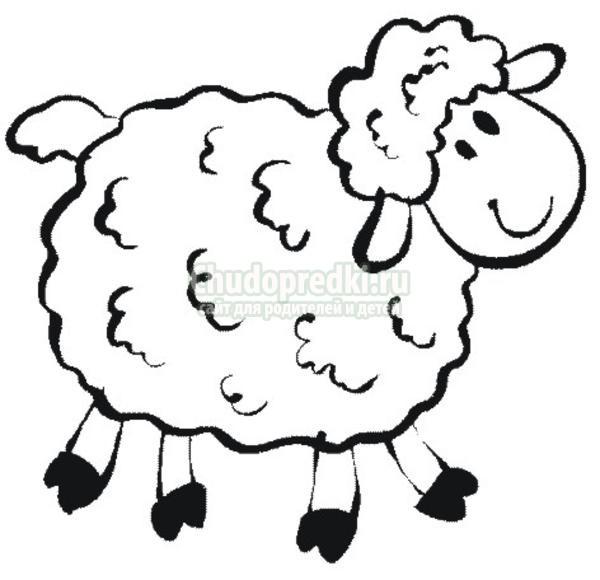 По линии вырезаем нашу овечку.