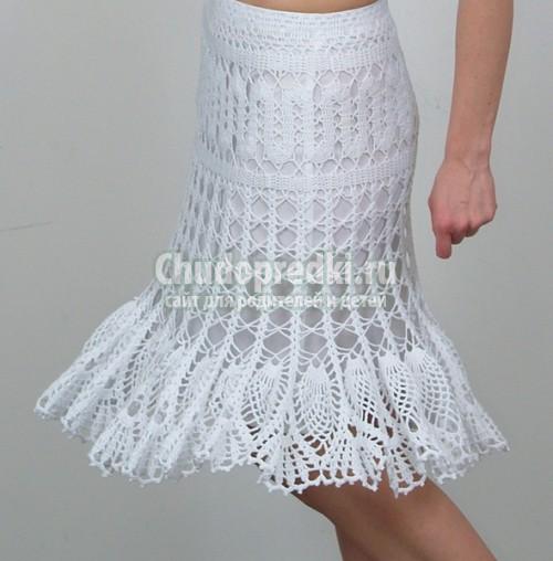 Вязаные крючком юбки бывают