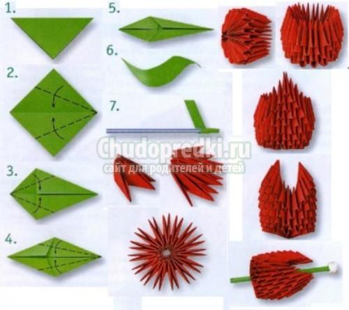 Модули цветов из оригами