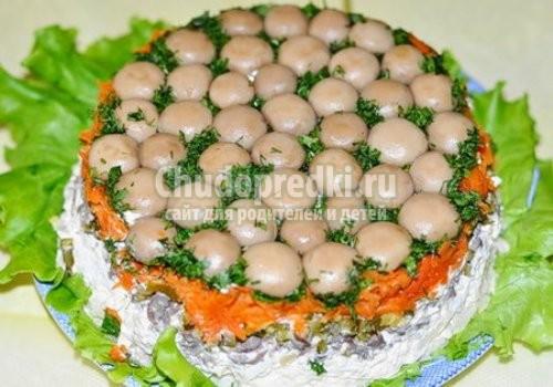 Рецепт салата грибная поляна с фото пошагово с опятами