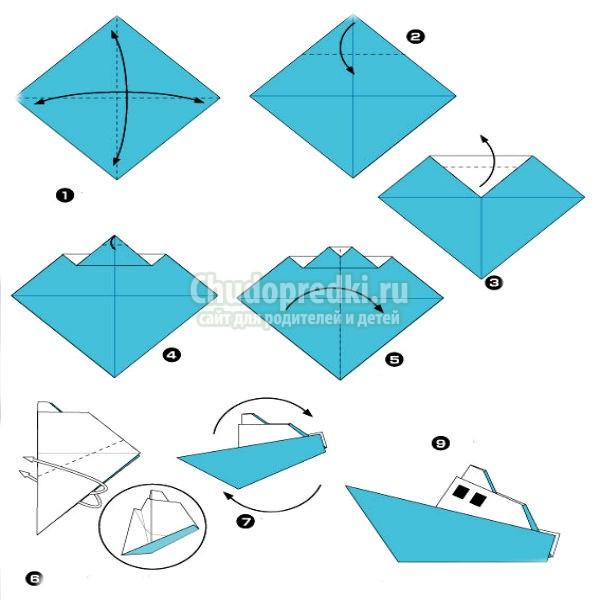Корабль из бумаги оригами