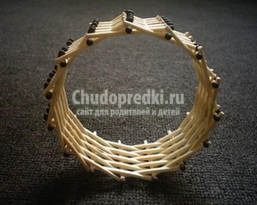 Оригинальное кольцо из спичек