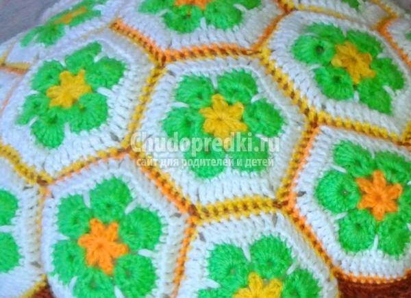 вязание крючком подушки-