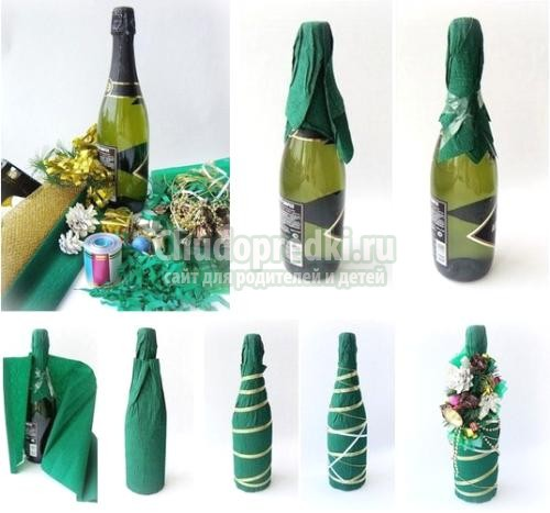 Бутылки на новый год 2014 своими руками