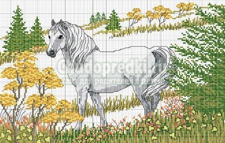 Лошадь. Схема вышивки крестом
