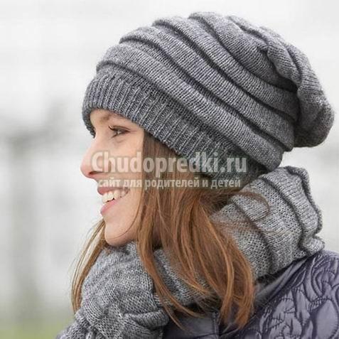 Модная вязаная шапка своими руками