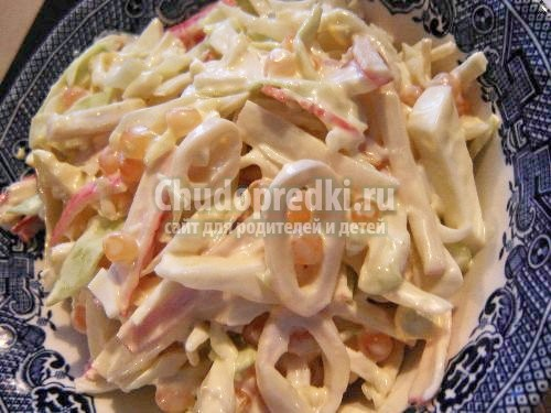 Рецепт салатов из свежих кальмаров рецепт с очень вкусный