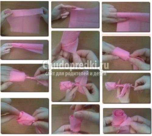 Розочки из салфеток своими руками с пошаговой инструкцией
