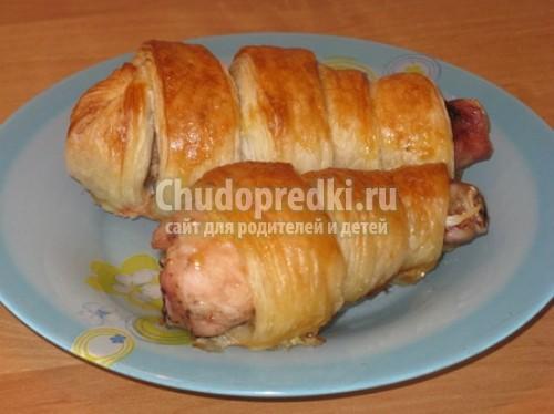 Куриные ножки в духовке в слоеном тесте пошагово