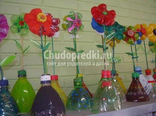 Поделки из пластиковых бутылок для школы