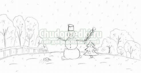 Как рисовать зиму картинки