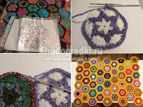 Вязание пледа крючком: схема, фото и видео