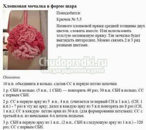 Круговая схема вязания мочалки