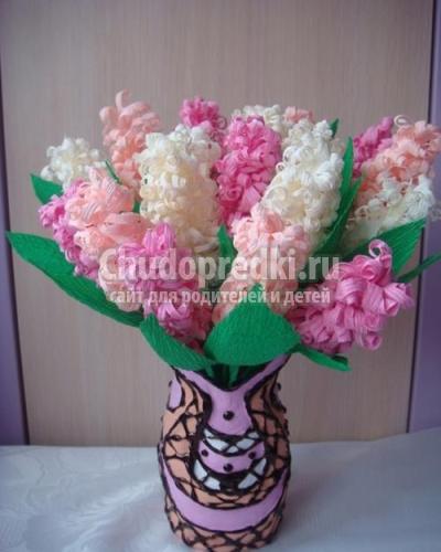 Поделка букеты цветов из гофрированной бумаги