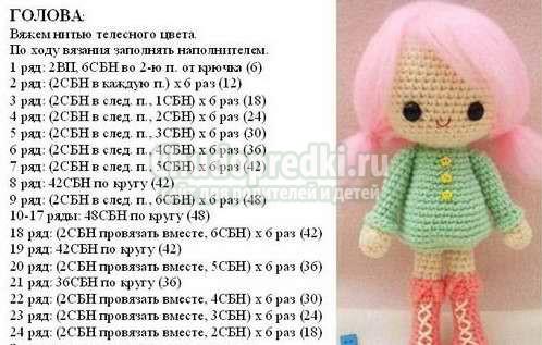 Кукла крючком схема