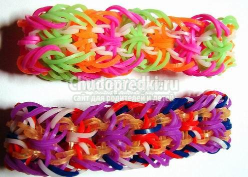 Сложное плетение из резинок на рогатке