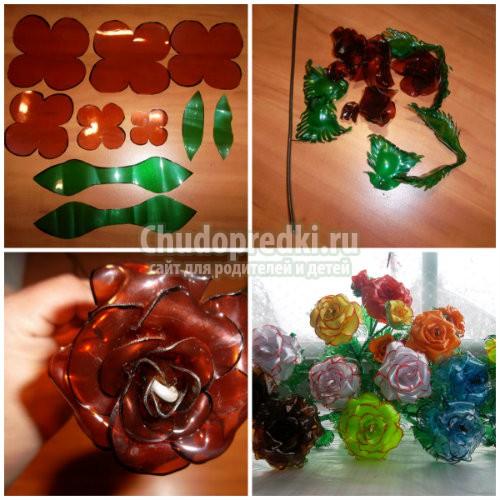 Красивые цветы из пластмассовых бутылок