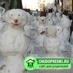 Стихи для детей. Весёлые снеговики
