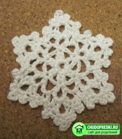Вязание снежинки
