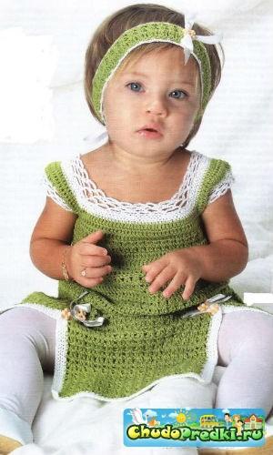 вязание крючком платье туника и тиара для девочки Chudopredki