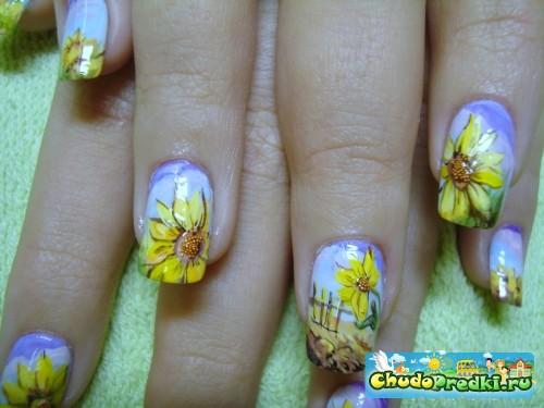 Дизайн ногтей-подсолнухи