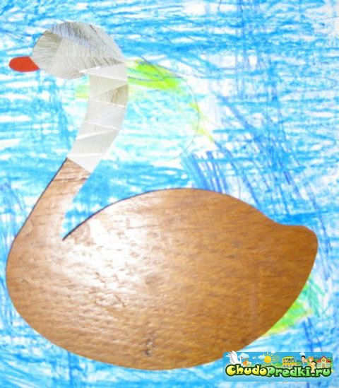 Детские поделки. Айрис фолдинг - 2 лебедя. Мастер класс с пошаговыми фото