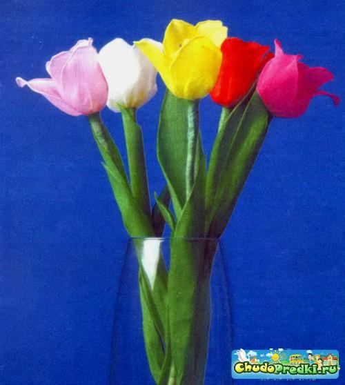 цветы из гофрированной бумаги. Тюльпаны. Мастер класс с пошаговым фото