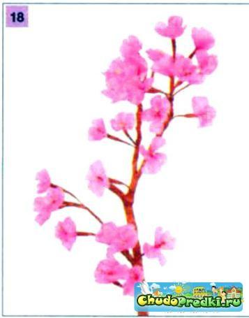 цветы из гофрированной бумаги. Ветка сакуры. Мастер класс с пошаговым фото