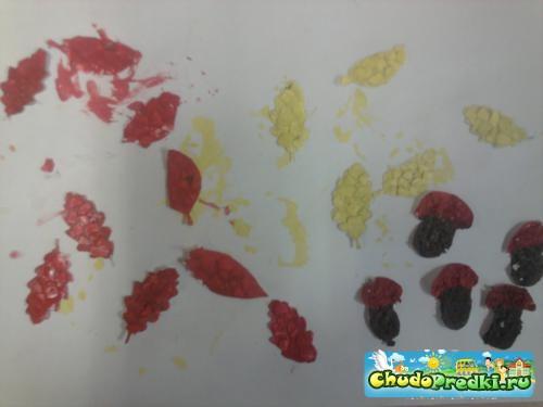 осеннее панно из яичной скорлупы осень в лесу