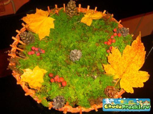осенняя композиция из природных материалов Осенний лес