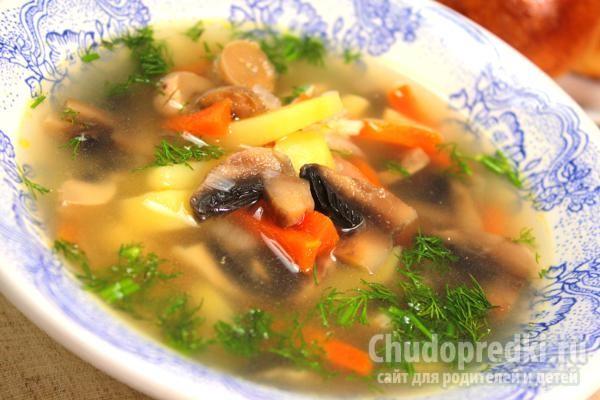 ароматный куриный суп с шампиньонами