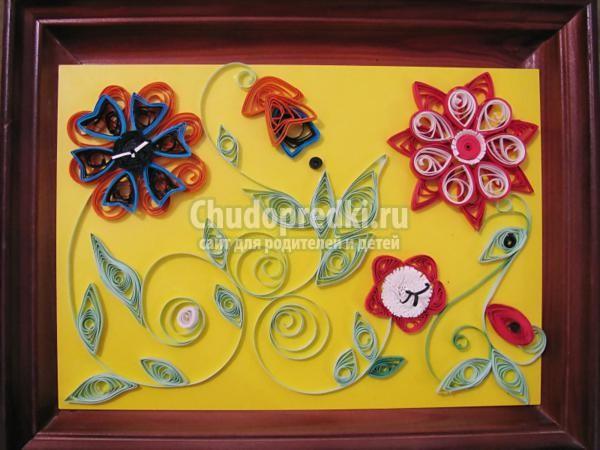 квиллинг. Картина с цветами