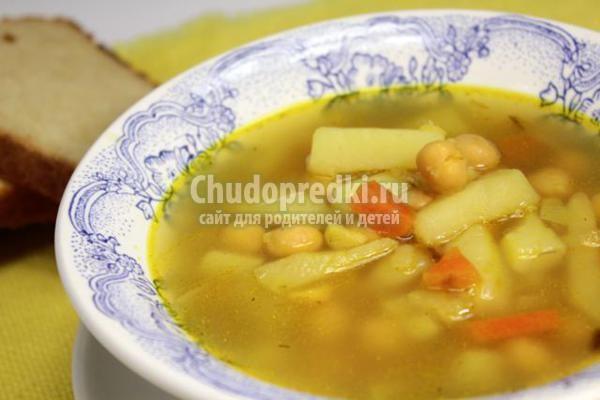 суп на курином бульоне с турецким горошком