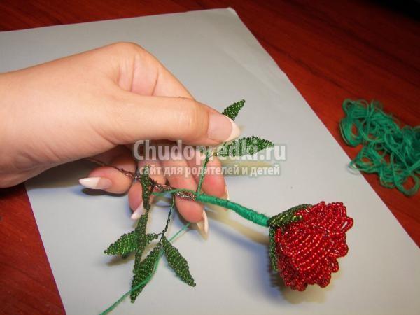 цветы из бисера. Розы