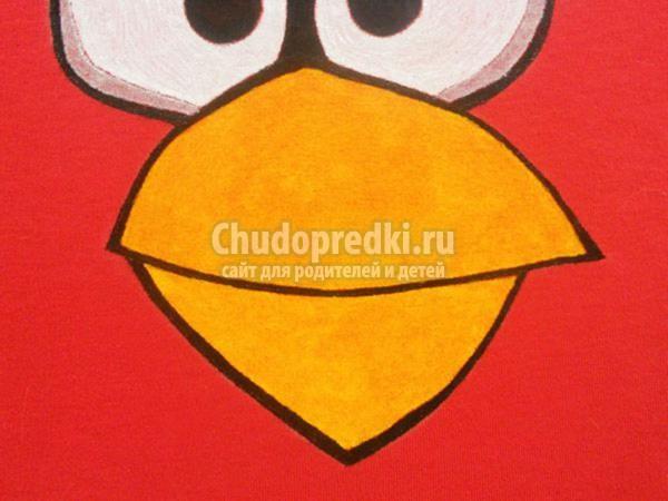 роспись футболки акриловыми красками. Angry Birds