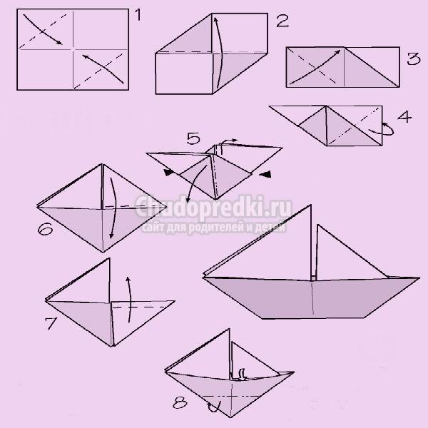 Корабли оригами схема
