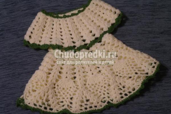 вязание крючком ажурного белого платья
