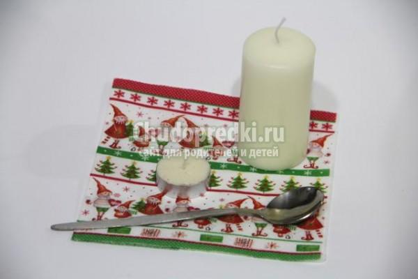 новогодний декупаж свечи
